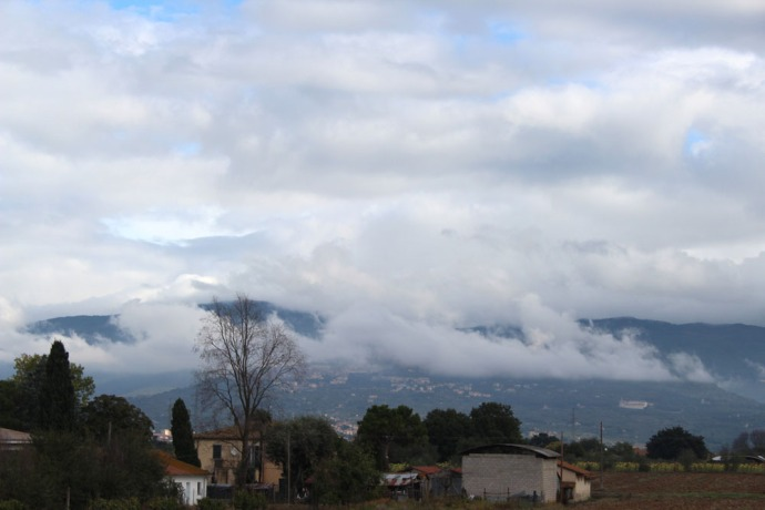Cortona fog shrouded hill
