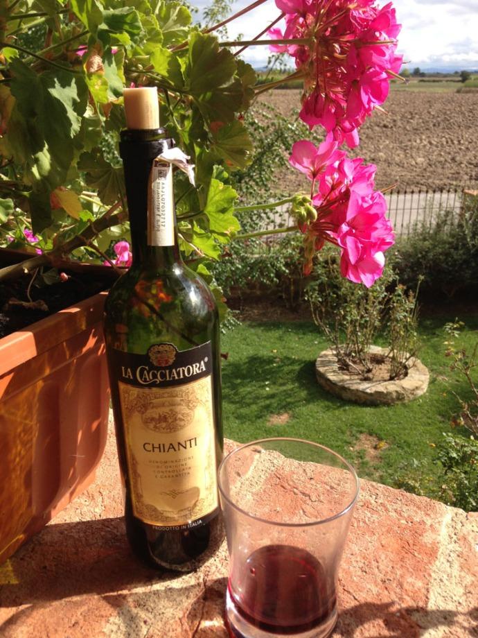 La Mucchia chianti bottle & geranium