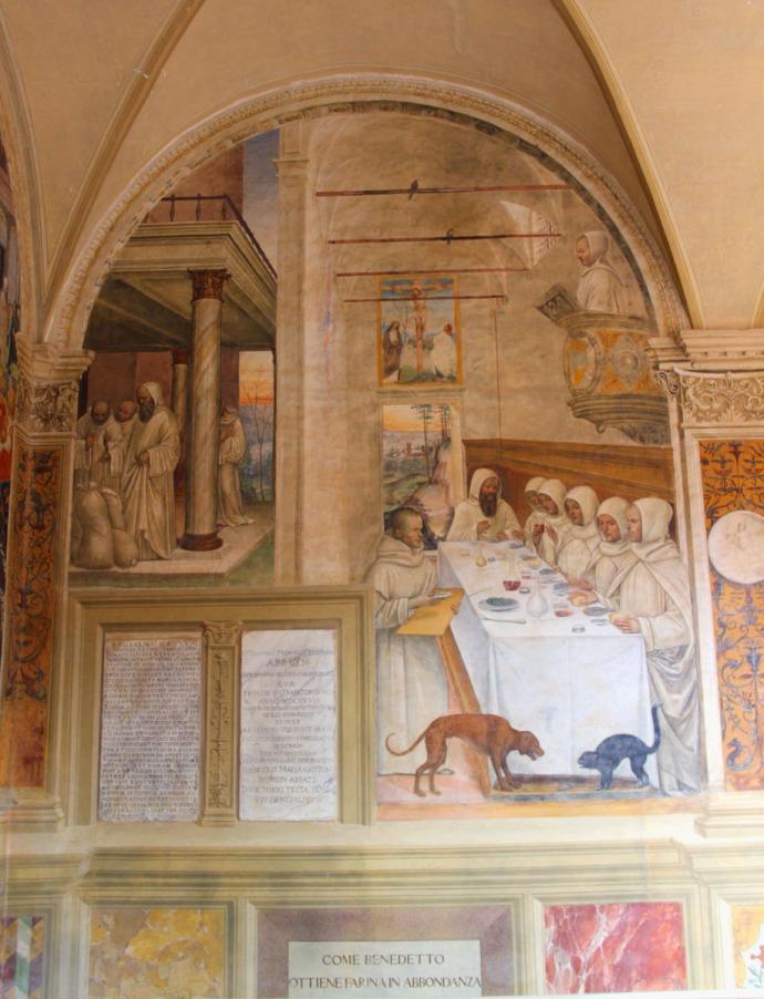 Monte Oliveto fresco cat and dog, dinner table