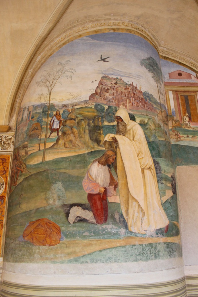 Monte Oliveto kneeling figure painting