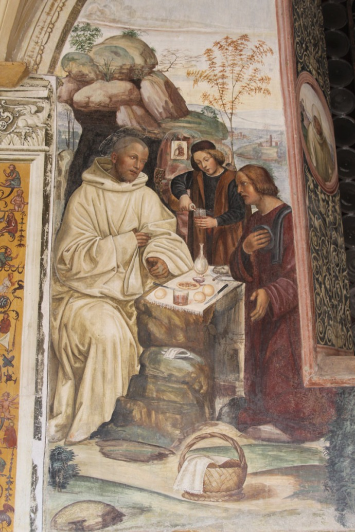 Monte Oliveto monk dining portion of panel