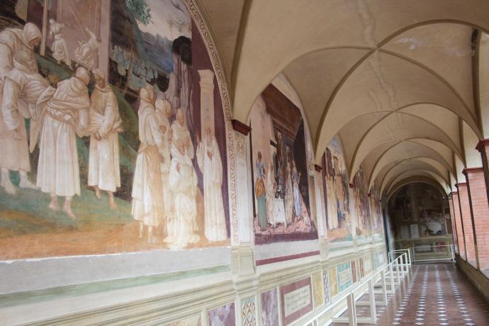 Monte Oliveto painted panels hallway