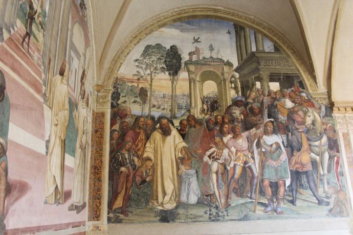 Monte Oliveto people, monk, turk panel