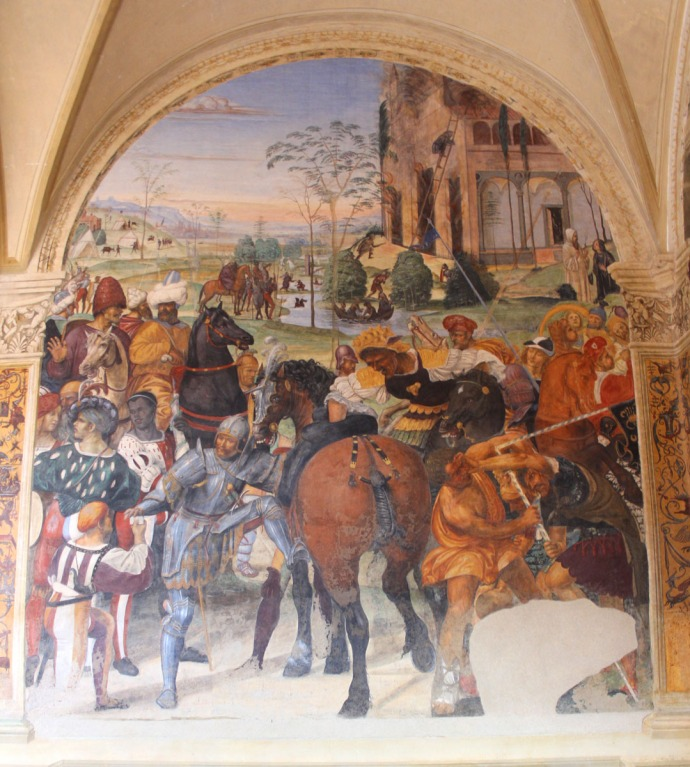 Monte Oliveto war horse, riders panel