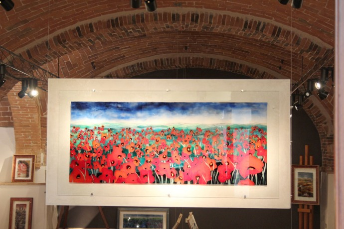 Montepulciano red poppies on glass