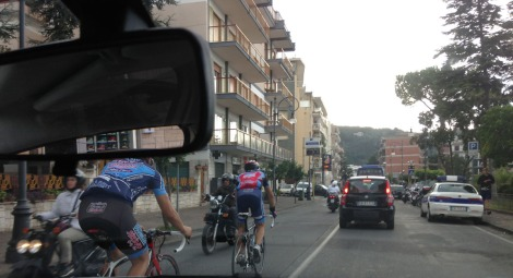 Arriving, Sorrento traffic, bikers