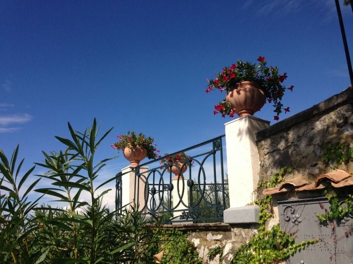 Massa Murat House railing, flowers