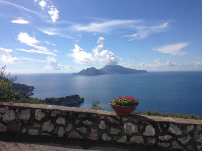 Massa Murat House view to Capri rock wall