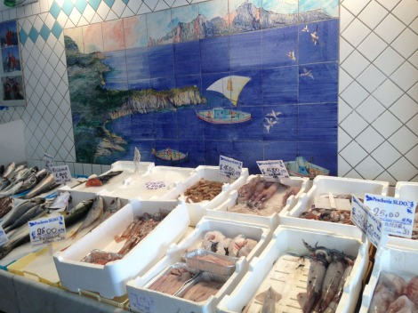 Massa seafood market tiled wall