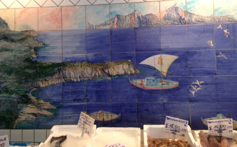 Massa seafood shop tile mural