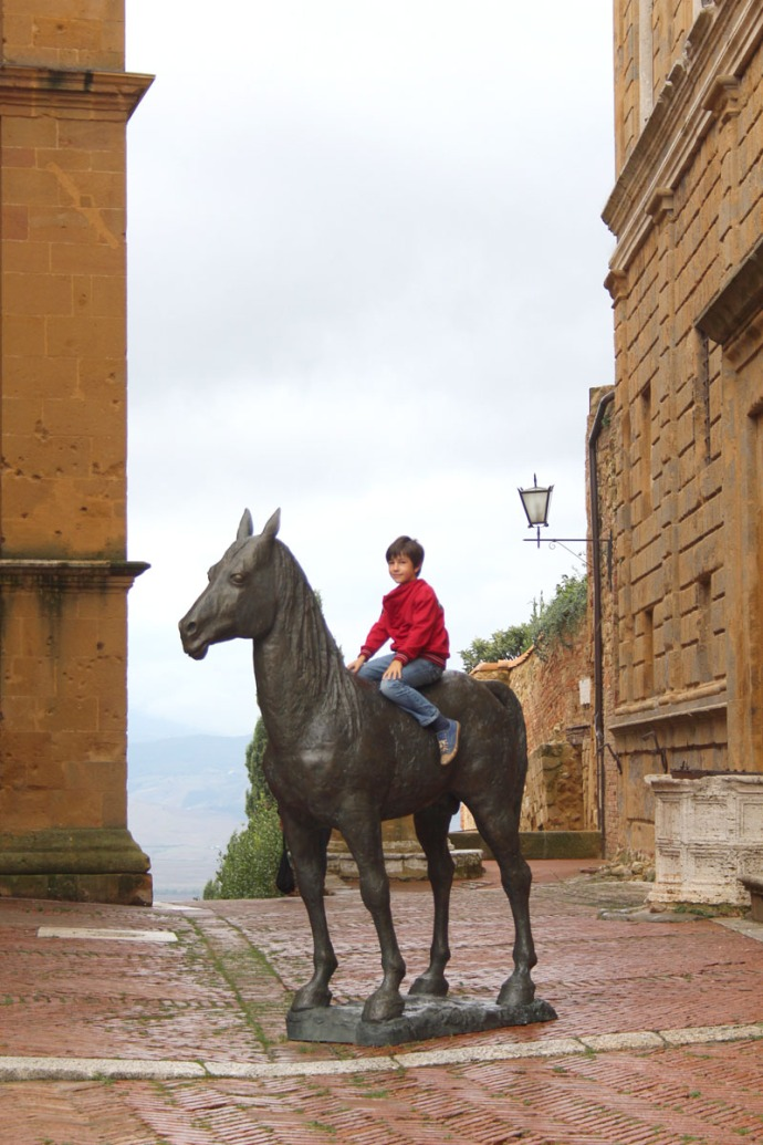 Pienza boy on horse sculpture