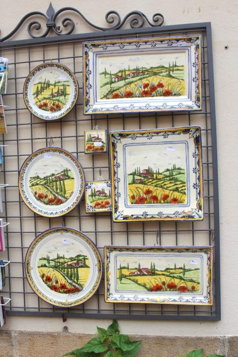 Pienza ceramics display