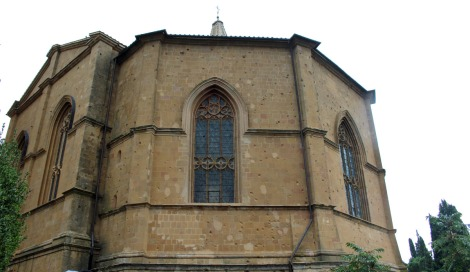 Pienza church with arched windows