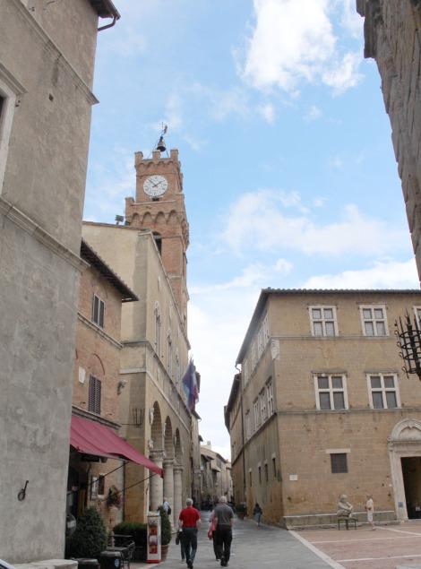 Pienza mail street, bell tower