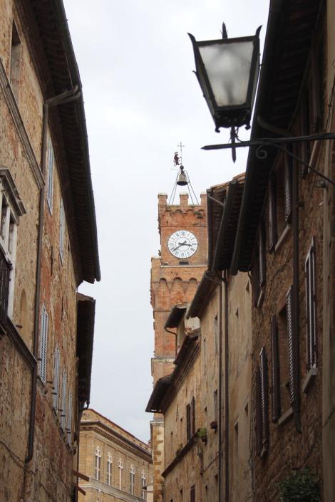 Pienza vert street, tower view