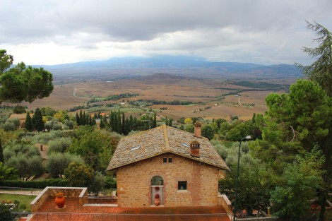 Pienza view over red tile roof