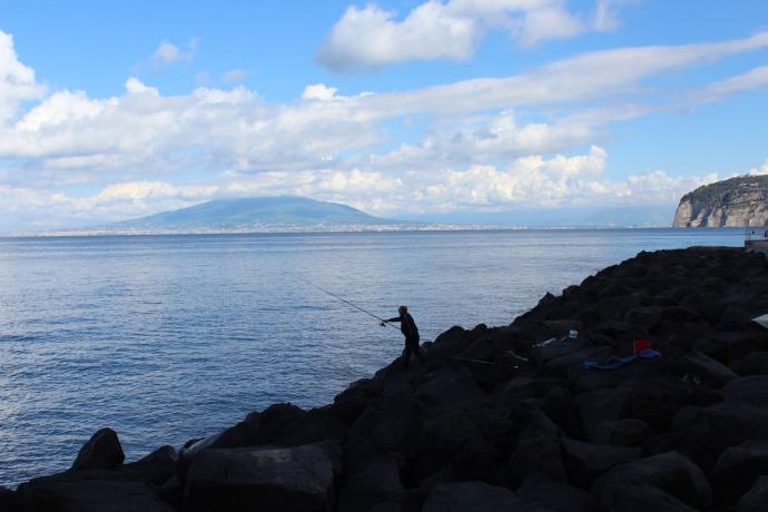 Sorrento Fisherman silhouetted, Pompeii
