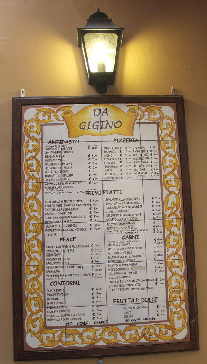 Sorrento Ristorante Da Gigino outside menu