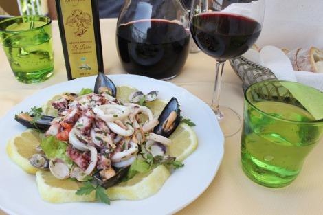 Massa Il Cantuccio squid salad starter, wine