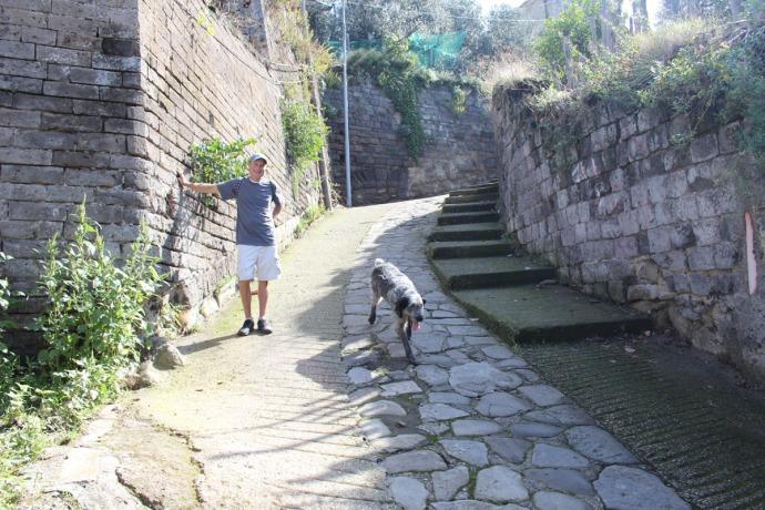 Massa Wally and dog on stone path