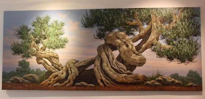 Positano art gallery hori olive tree painting