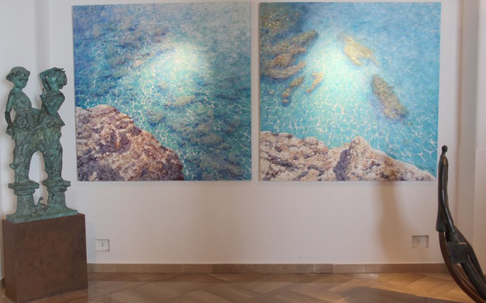 Positano art gallery water paintings