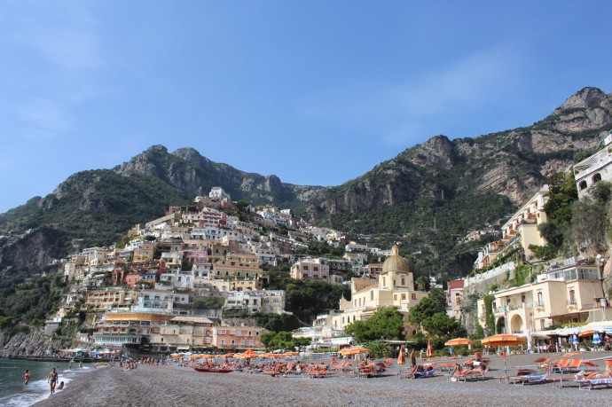 Positano beach and town view 1