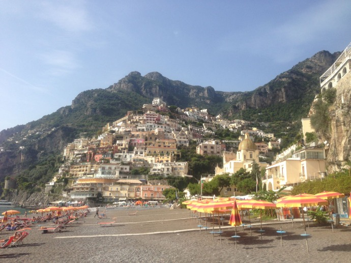 Positano beach to hill view