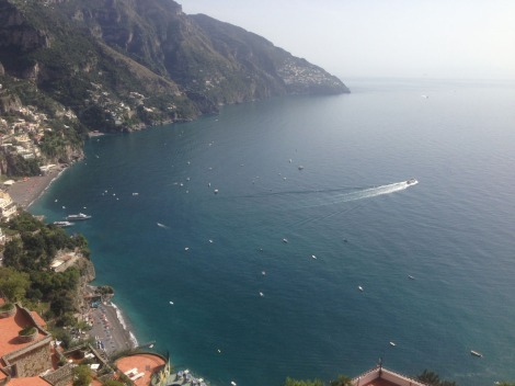Positano ferry leaving bay