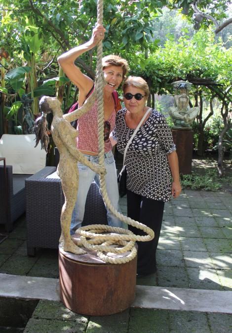 Positano Lucia & sister, art museum rope