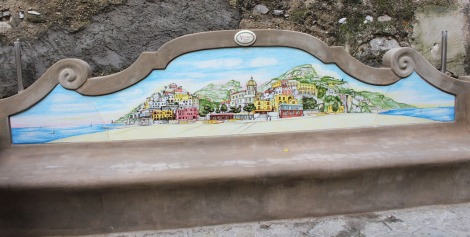 Positano painted bench back