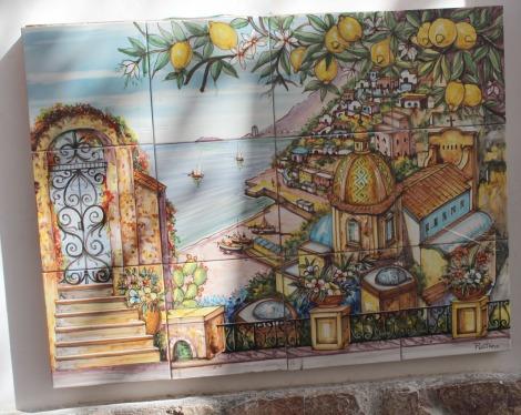 Positano town tile mural