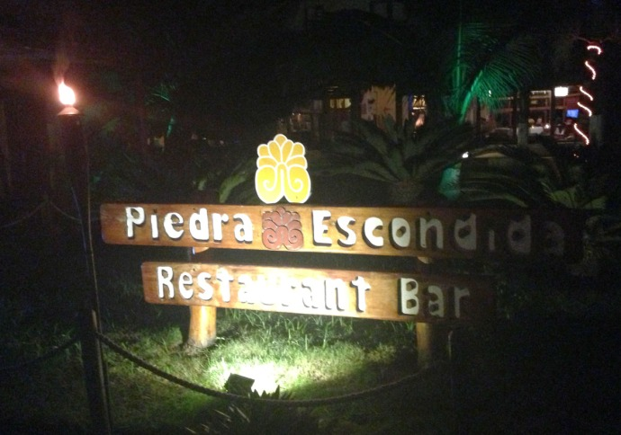 Piedra Escondio sign, night
