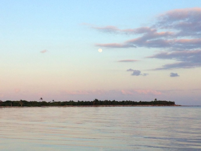 Soliman Bay full moon over point, pastels