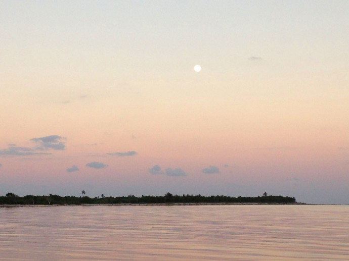 Soliman Bay full moon, pink silhouette
