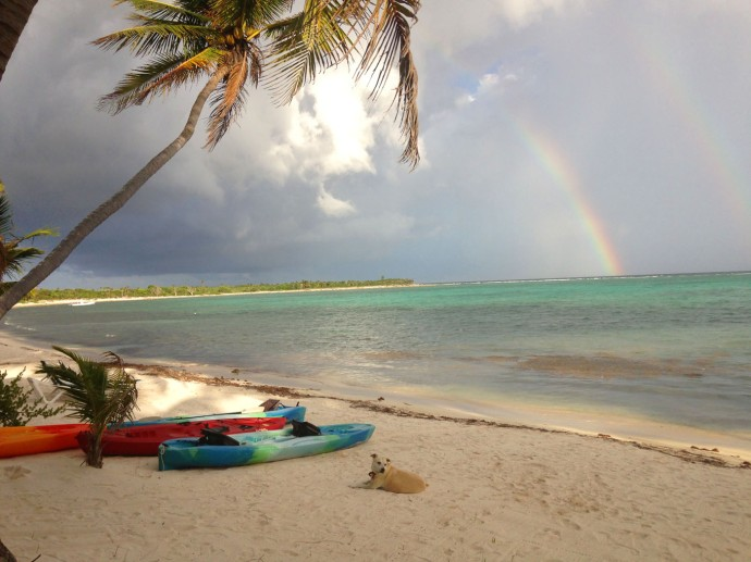 Soliman Bay rainbow, Mimi, kayaks