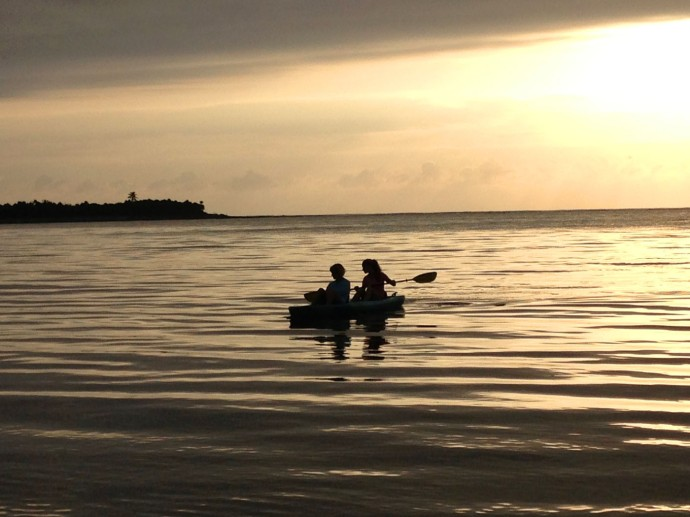 Soliman stormy sunrise kayakers, Beryl & mom 2