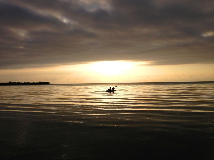 Soliman stormy sunrise kayakers, Beryl & mom