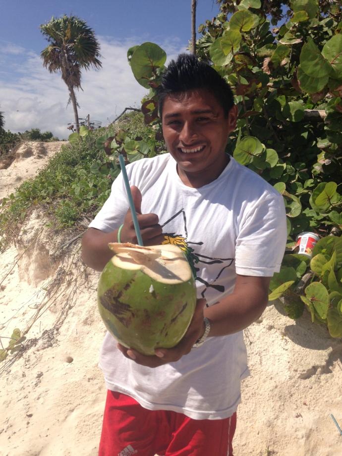 Tulum Beach Coco Frios guy