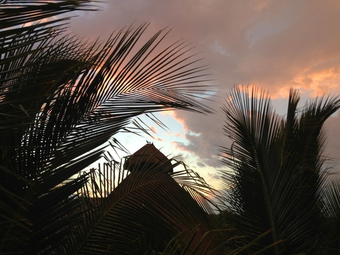 Uxibal palapa top cloudy sunset