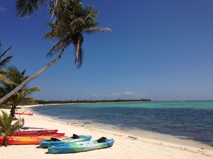 Uxibal palm and kayaks