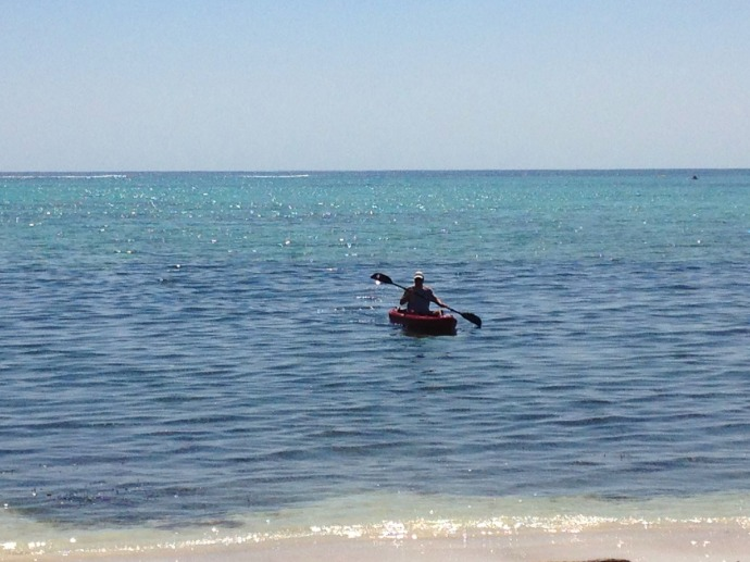 Wally kayaking in