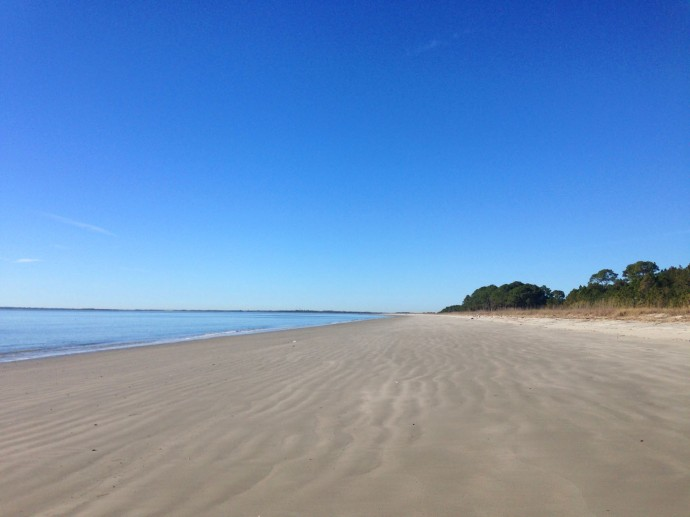 Daufuskie Beach empty beach, blue sky & water