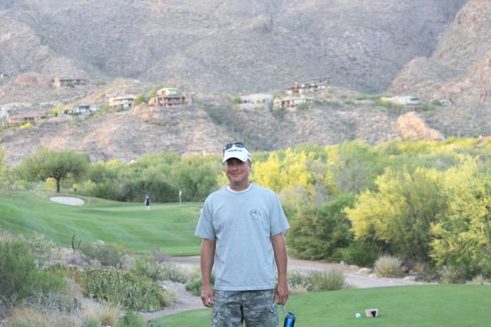 Wally on golf hole