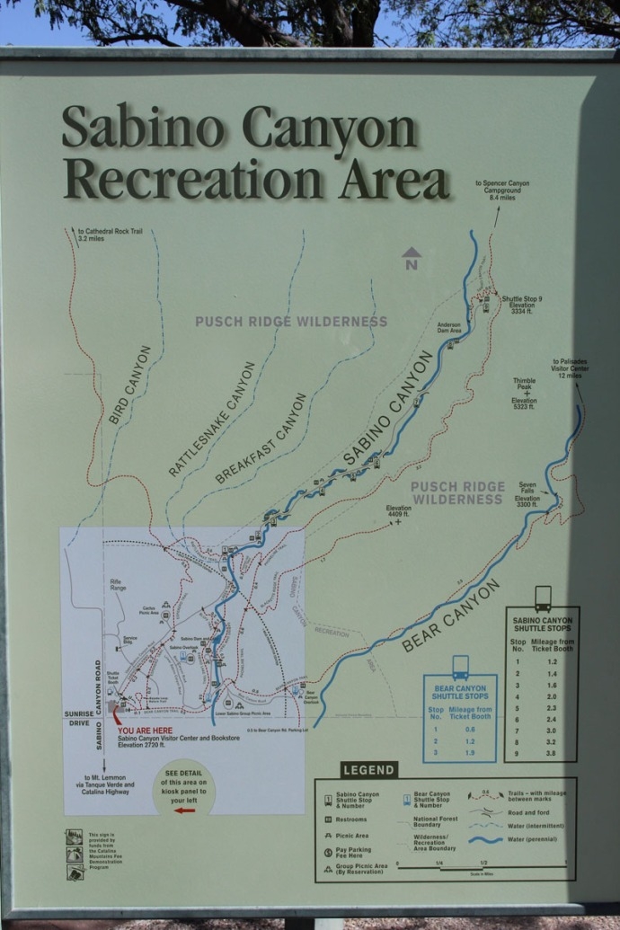 Sabino Canyon recreation sign