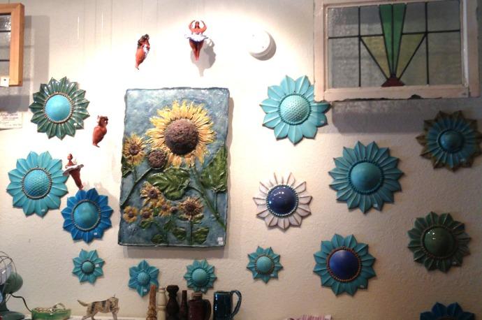 Avon, Kinakeet Clayworks blue sunflowers