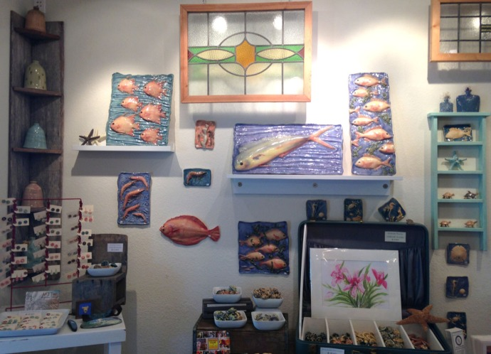 Avon, Kinakeet Clayworks fish plaques, stained glass