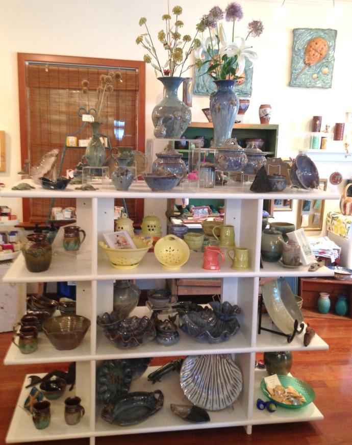 Avon, Kinakeet Clayworks pottery shelves