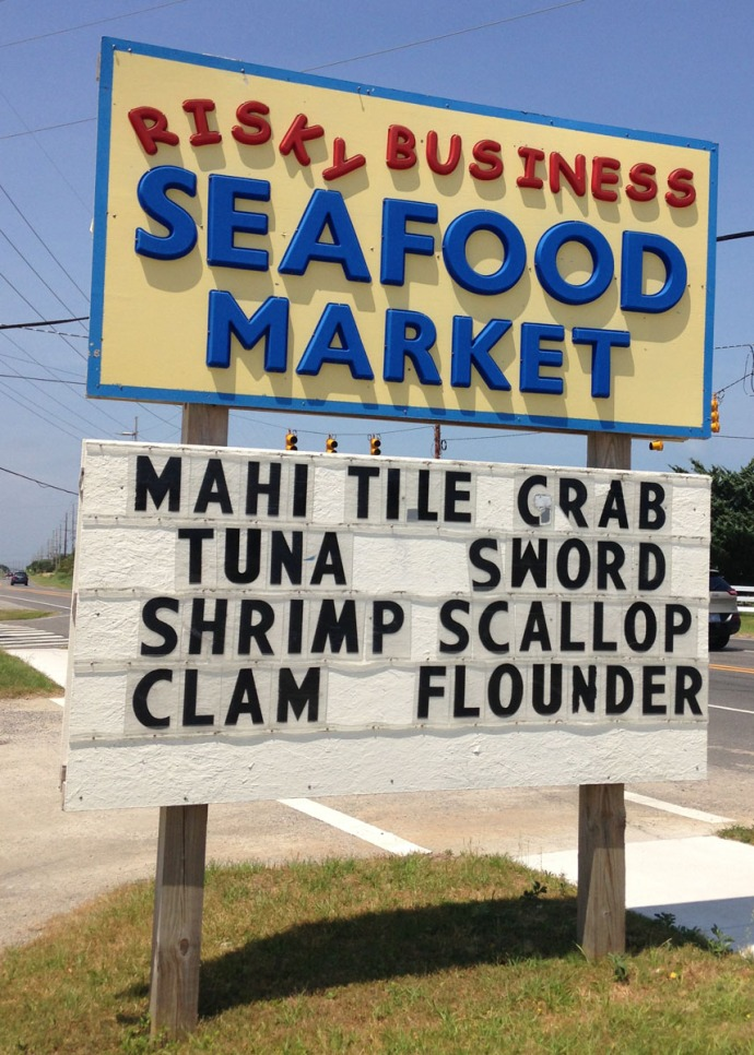 Avon, Risky Business Seafood Market sign
