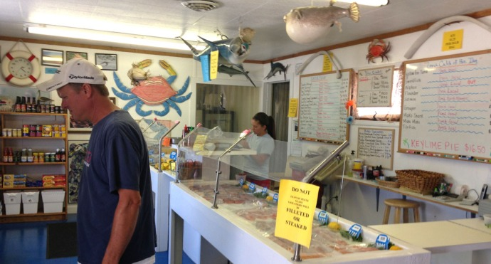 Avon, Risky Business Seafood Wally & counter